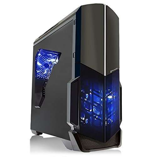 SkyTech Shadow GTX 1050 Ti Gaming Computer Desktop PC FX-4300 3.80 GHz Quad Core, GTX 1050 Ti 4GB, 8GB DDR3, 1TB HDD, 24X DVD, Wi-Fi USB, Windows 10 Pro 64-bit, Black